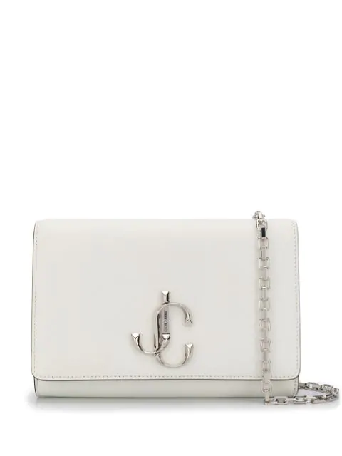 Jimmy Choo Small Leather Varenne Clutch In White