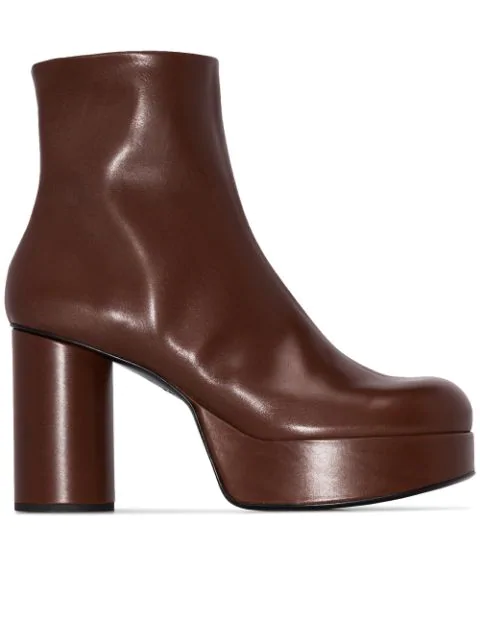 Jil Sander 100 Brown Leather Ankle Boots