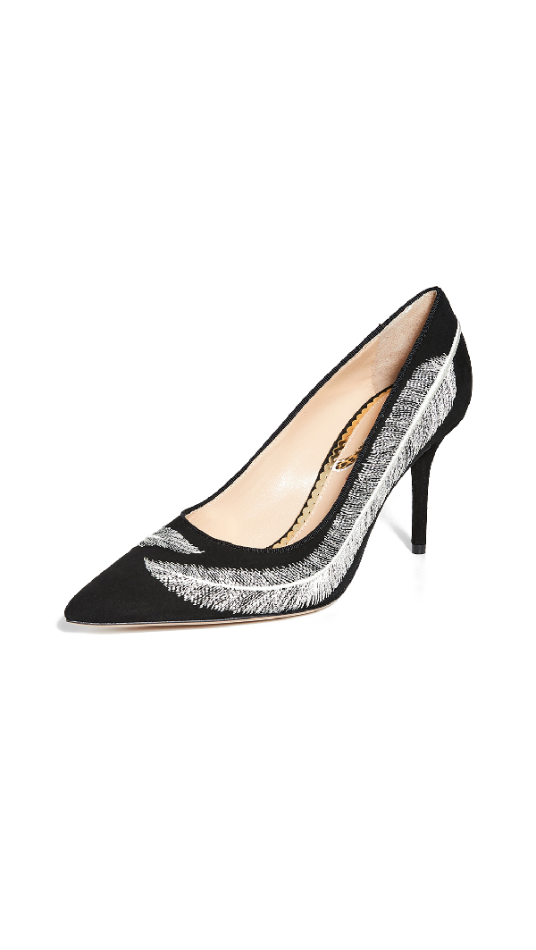 Charlotte Olympia Women's Emilia Feather-Embroidered High-Heel Pumps In Black