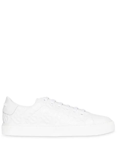 Burberry Albridge Tb Embossed Leather Sneakers In White