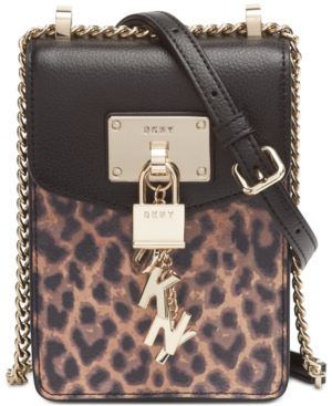Dkny Elissa North-South Leopard Leather Crossbody, Created For Macy's In Black/Gold