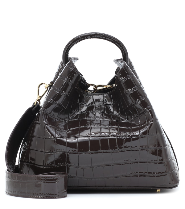 Elleme Raisin Croc-effect Shoulder Bag In Brown
