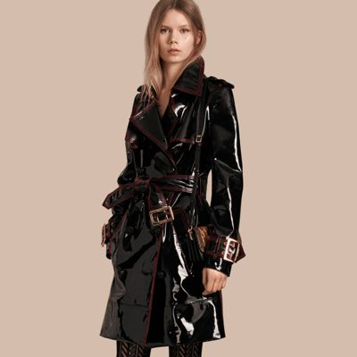 bfd72ac155ac Burberry Unlined Patent Leather Trench Coat In Black