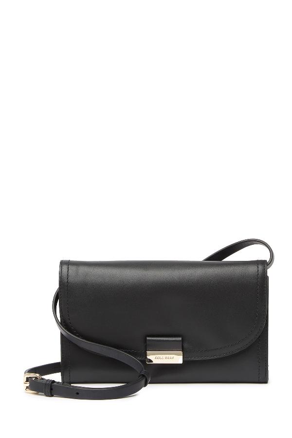 Cole Haan Smartphone Leather Crossbody Bag In Black