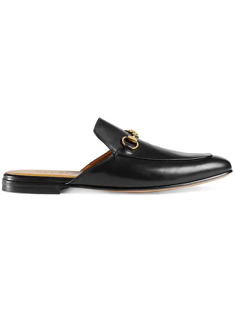 Gucci Princetown Leather Horsebit Mule Slipper Flats In Black