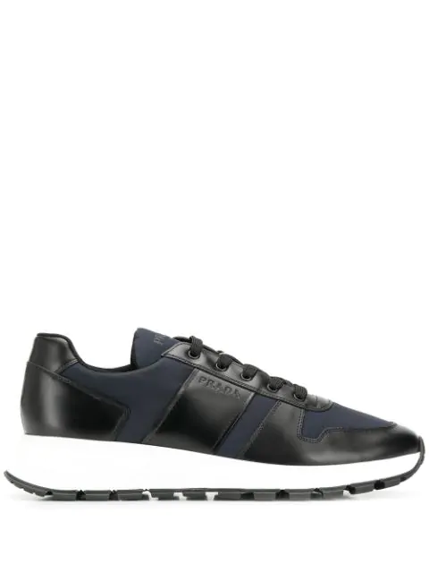 Prada Match Race Leather-trimmed Nylon Sneakers In F096r Nero Royal