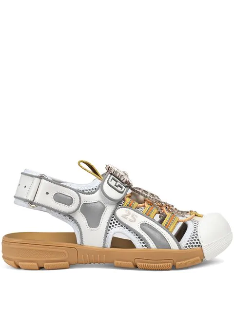 Gucci Women's Leather And Mesh Sandal With Crystals In White