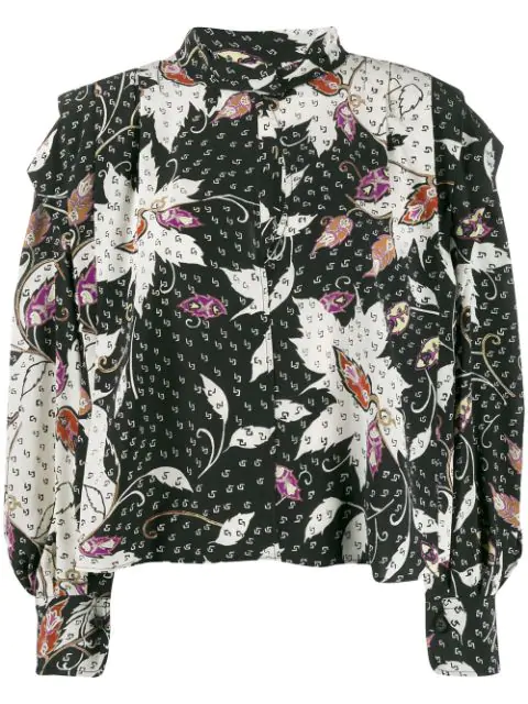 Isabel Marant Ricky Ruffled Printed Silk-blend Crepe De Chine Blouse In Black