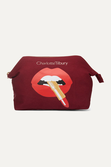 Charlotte Tilbury Hot Lips Printed Cotton-canvas Cosmetics Case In Colorless