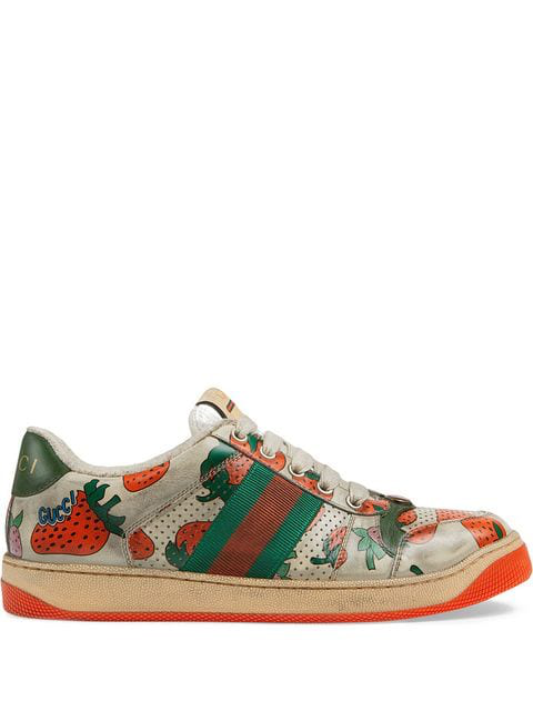 Gucci Screener Dirty Strawberry Lace-Up Sneakers In White