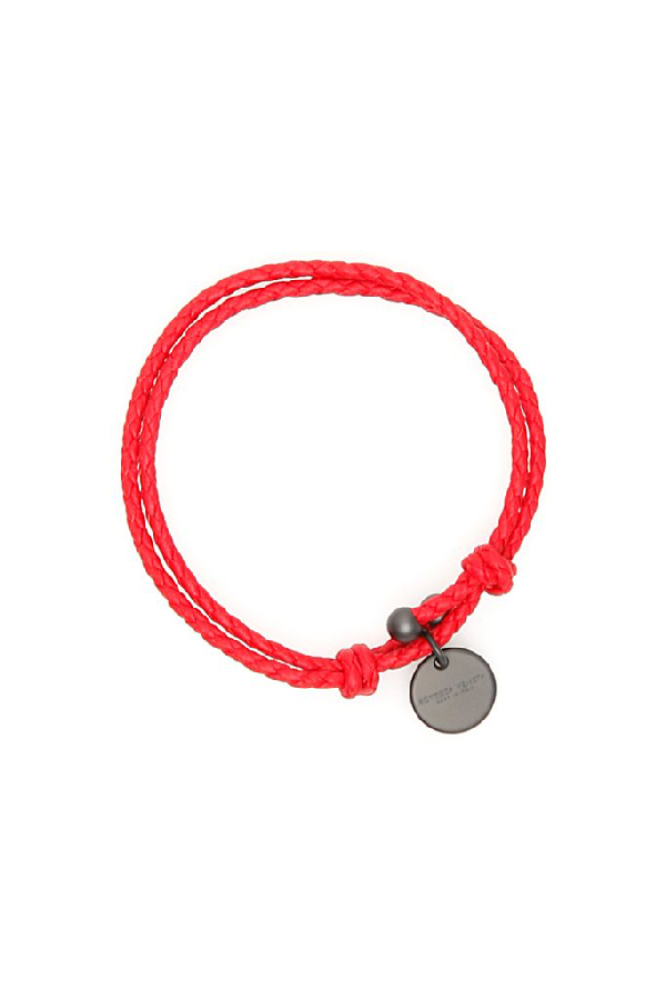 Bottega Veneta Logo Pendant Woven Bracelet In Red