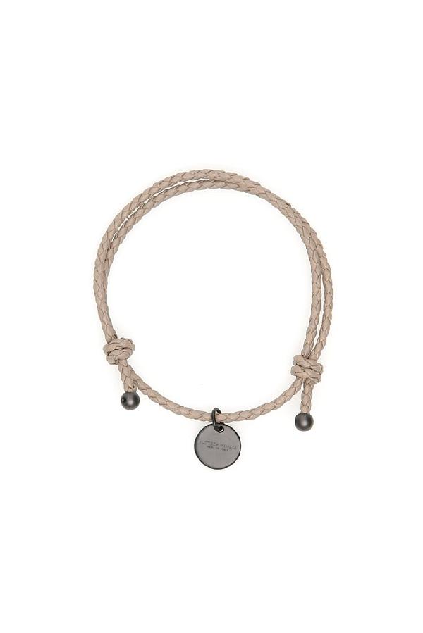 Bottega Veneta Logo Pendant Woven Bracelet In Grey