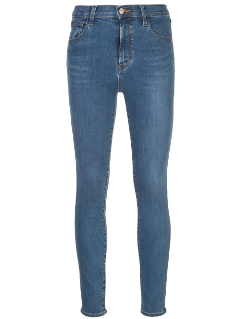 J Brand Leenah Super High Waist Raw Ankle Skinny Jeans In Blue