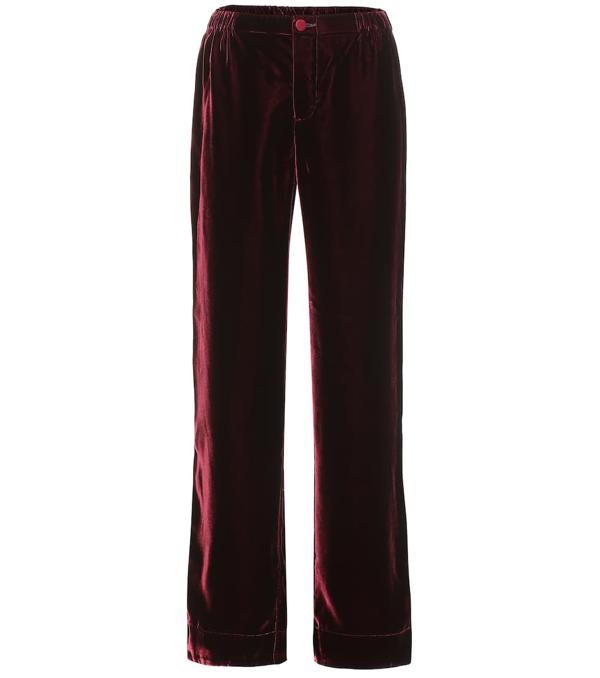 F.r.s For Restless Sleepers Etere Velvet Straight-leg Pants In Red