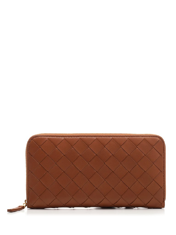 Bottega Veneta Intrecciato Zip Around Wallet In Brown