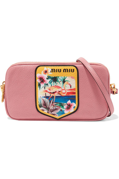d29490b56dcd Miu Miu Printed Textured-Leather Camera Bag | ModeSens