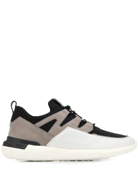 Tod's Nubuck-panelled Drawstring Technical Trainers In Black