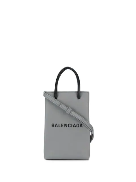 Balenciaga Shopping Phone Bag On Strap In 1160 Grey