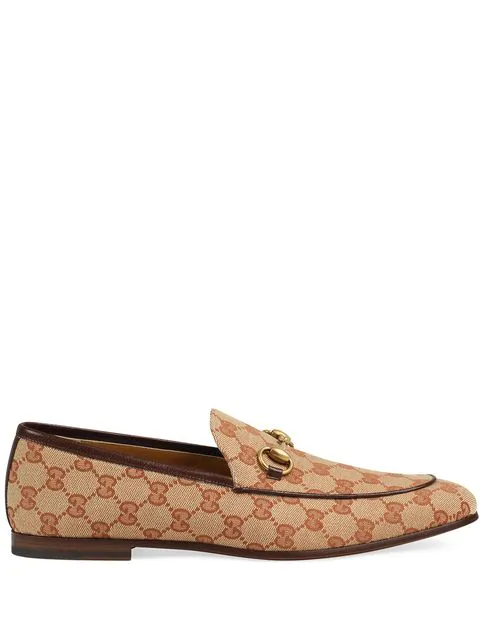 Gucci Jordaan Horsebit Leather-Trimmed Monogrammed Canvas Loafers In Brown