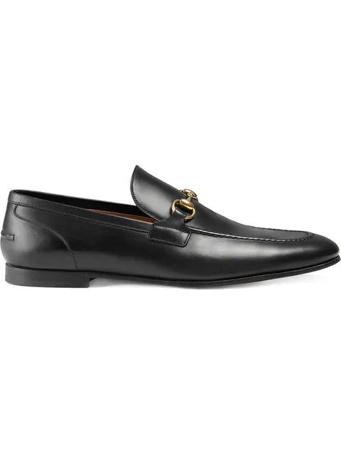 Gucci Black Jordan Buckle Embellished Leather Loafers