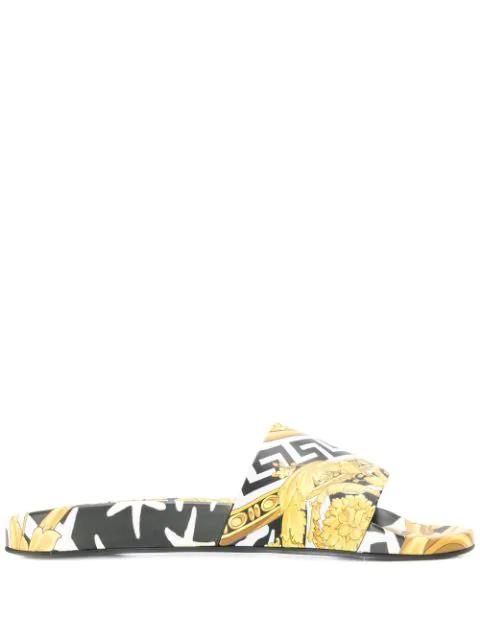 Versace 20Mm Printed Rubber Slide Sandals In Black