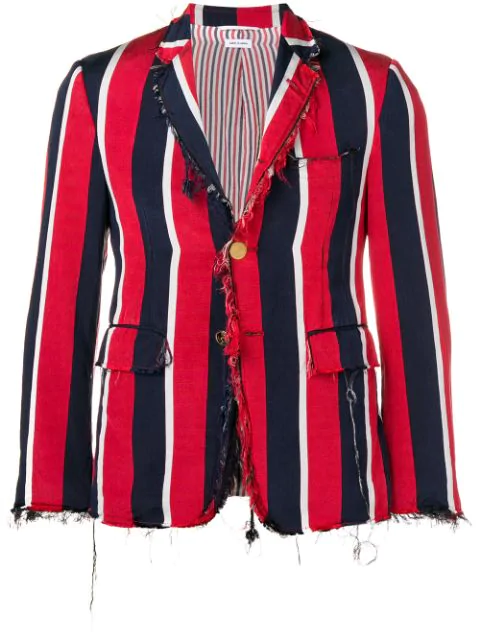 Thom Browne Wide Repp Stripe Sport Coat In Red