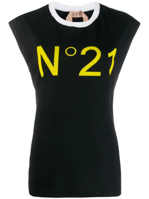 N°21 Sleeveless Logo T-Shirt In Black