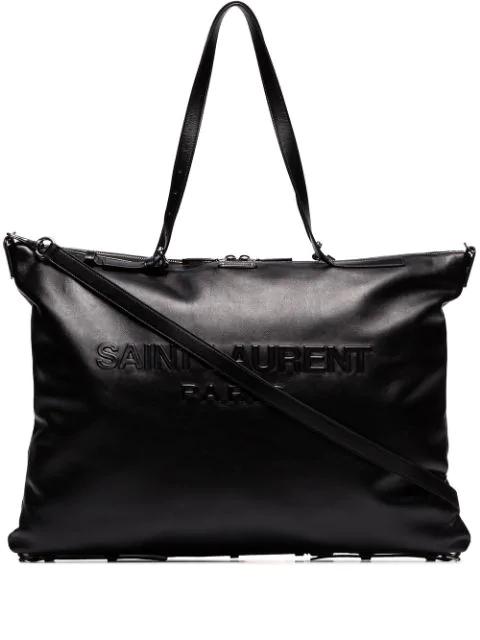 Saint Laurent Embossed Logo Tote In Black