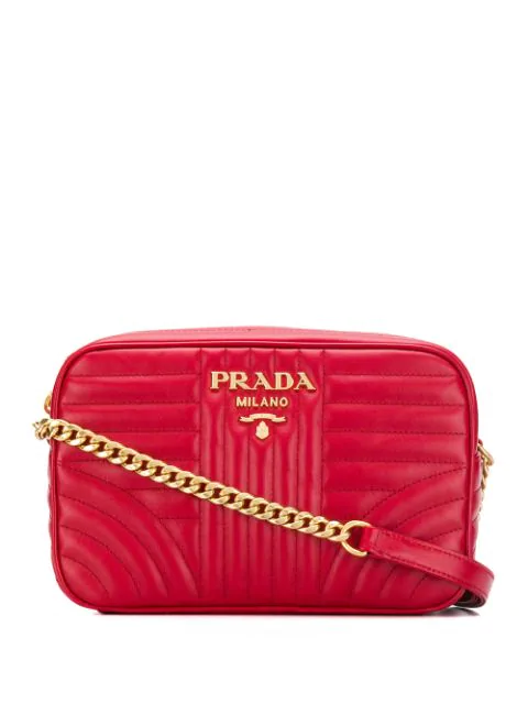 Prada Diagramme Leather Crossbody Bag In Red