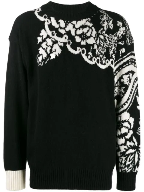Sacai Intarsia Wool-blend Sweater In 001 Black White