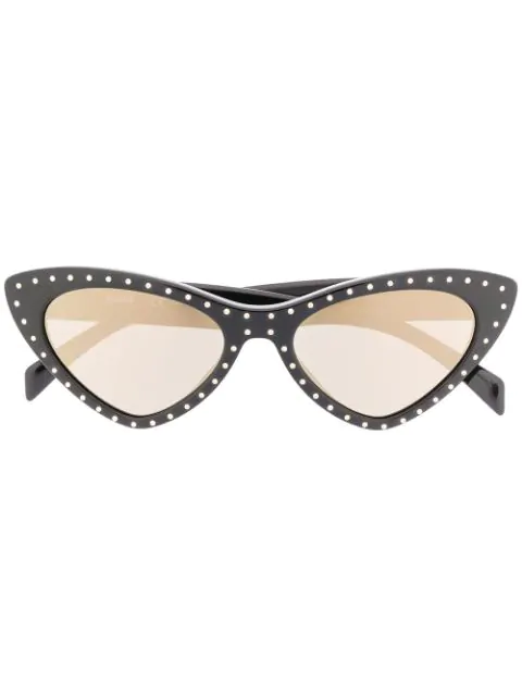 Moschino Eyewear Crystal Embellished Sunglasses In Black