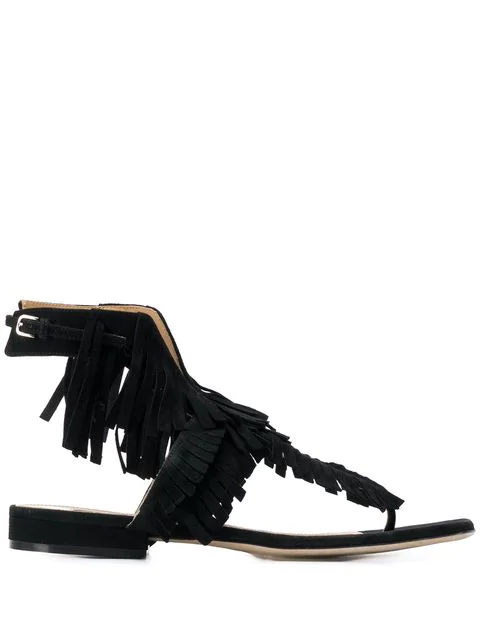 Sergio Rossi Fringed Flat Sandals In 1000