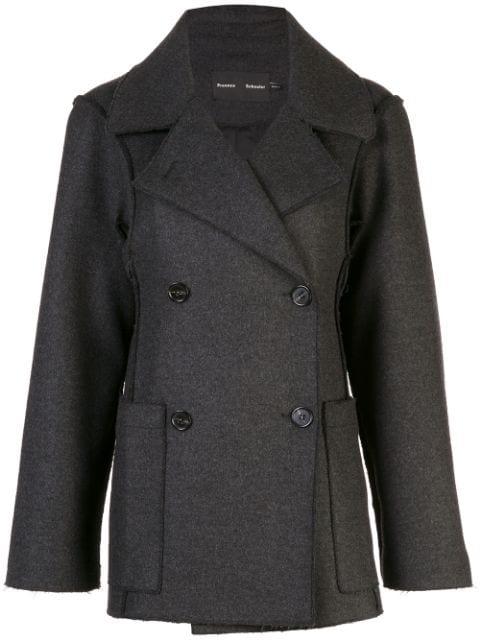 Proenza Schouler Oversized Wool Cashmere Peacoat In Grey