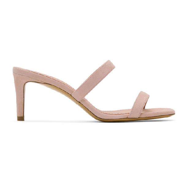 Mansur Gavriel Pink Suede Fino Sandals In Blush