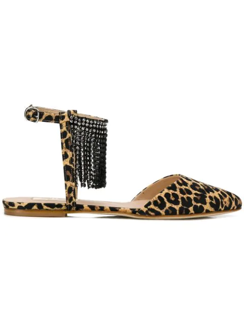 Polly Plume Flats In Leopard Print In Brown