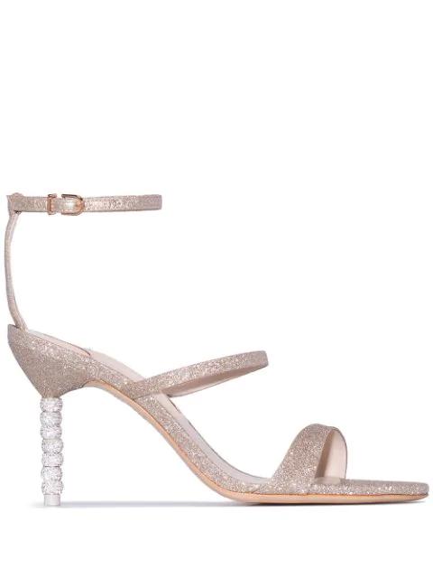 Sophia Webster Rosalind Crystal 85Mm Glitter Sandals In Champagne Glitter