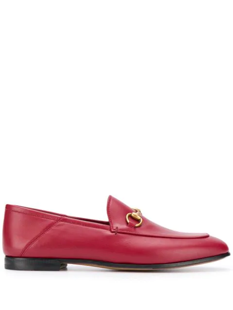 Gucci Brixton Horsebit Leather Loafers In Red