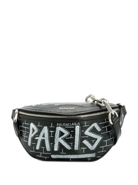 Balenciaga Souvenir Graffiti Belt Bag In Black
