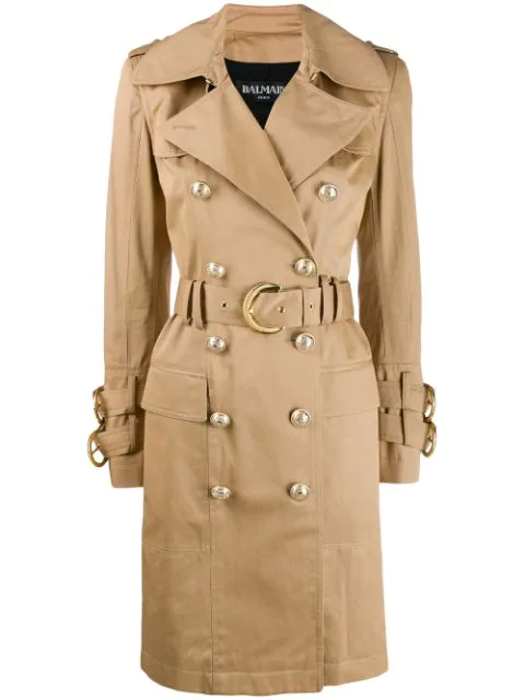 Balmain Double-breasted Belted Trench Coat In Neutrals