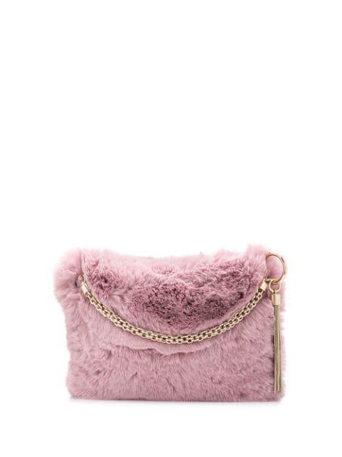 Jimmy Choo Callie Fur Tote In Pink
