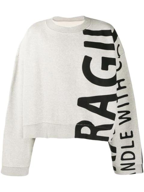 Maison Margiela Grey Printed Sweatshirt In 856m Grey Melange