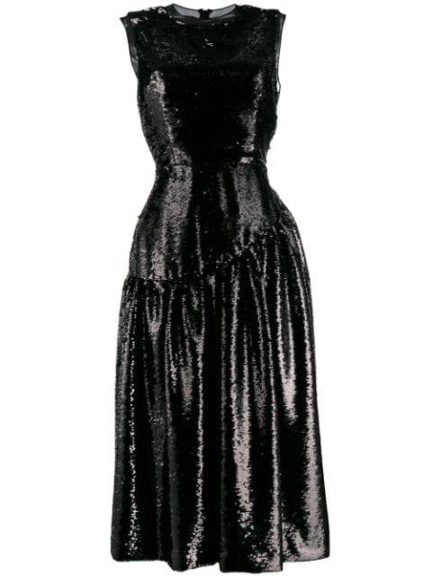Simone Rocha Sequin Midi Dress In Black