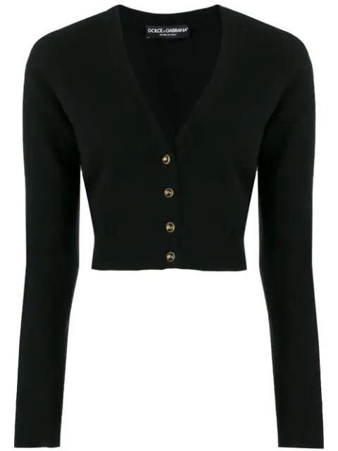 Dolce & Gabbana Cropped V-Neck Cardigan In N0000 Nero