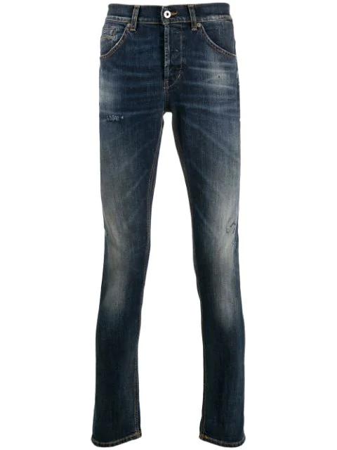 Dondup Schmale Distressed-jeans In 800 Denim