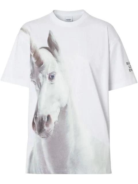 Burberry Oversize-T-Shirt Aus Baumwolle Mit Einhornaufdruck In White