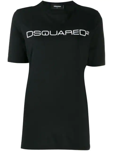 Dsquared2 Logo Cotton Jersey T-Shirt In Black