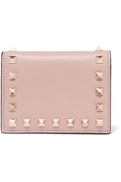 Valentino Rockstud Leather Wallet In Blush