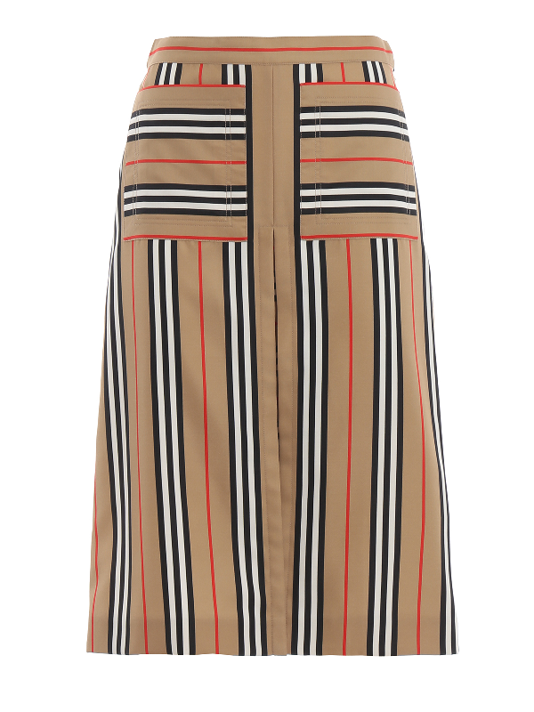 Burberry Arisa Box-pleated A-line Skirt In Beige