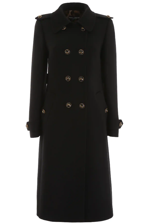 Dolce & Gabbana Double-Breasted Coat In Black