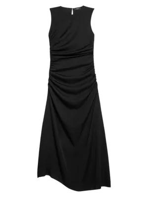 Theory Sleeveless Ruched Silk Blend Midi Dress In Black